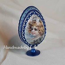Dekorácie - Vajíčko so stojanom - Modré - 10572210_