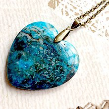 Náhrdelníky - Blue Sea Jasper Heart Bronze Pendant / Prívesok srdce s morským jaspisom #2004 - 10572387_