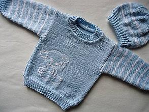 Detské súpravy - detská súpravička modrá - biely macík - 10572446_