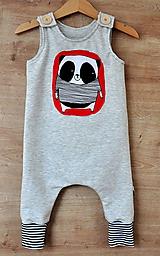 Detské oblečenie - Dupačky panda sivá - 10574366_