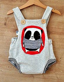 Detské oblečenie - Kraťasy na traky panda červená - 10574337_