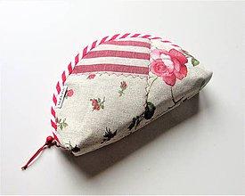 Taštičky - Kozmetická taštička patchwork ľanová s ružami - 10573817_