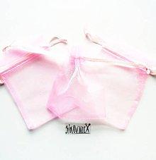 Obalový materiál - Organzové vrecko, 7x9 cm, svetlá ružová - 10572487_