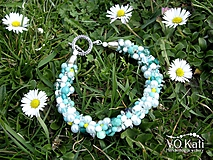 Náramky - Kumihimo náramok z korálok (Bielo-tyrkysová) - 10574920_