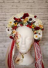 Ozdoby do vlasov - Folklórna svadobná kvetinová parta - 10571551_