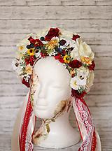 Ozdoby do vlasov - Folklórna svadobná kvetinová parta - 10571553_