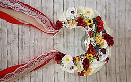 Ozdoby do vlasov - Folklórna svadobná kvetinová parta - 10571554_