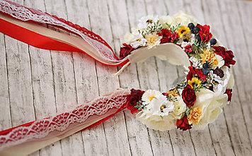 Ozdoby do vlasov - Folklórna svadobná kvetinová parta - 10571552_