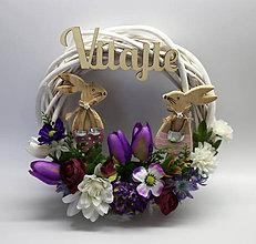 Dekorácie - Biely veniec- zajačiky - 10573999_