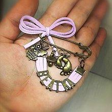 Odznaky/Brošne - Brošnička na kočík  (Baby pink) - 10572928_