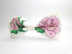 Ozdoby do vlasov - Čelenka s vyšívanou mašľou  (Ruže) - 10571717_