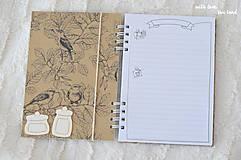 Papiernictvo - Receptárik (natural, birds) - 10574306_