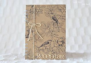 Papiernictvo - Receptárik (natural, birds) - 10574303_
