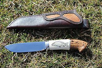Nože - Nôž zdobený scrimshaw kapor - 10574663_