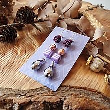 Náušnice - Nežné náušnice, fialové keramické ruže, minerál, kvapky, striebro - 10574422_