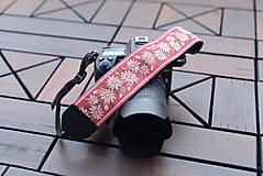 Nezaradené - Popruh na fotoaparát ružový kvet Plesnivec - 10573979_
