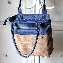 Kabelky - Casual leather&denim bag - 10572851_