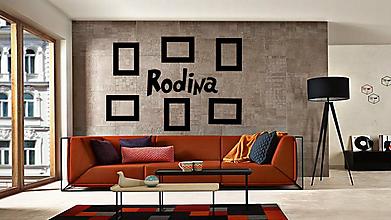 Dekorácie - Nápis na stenu RODINA + rámiky na fotky (Modrá) - 10574049_