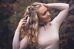 Ozdoby do vlasov - Gumička do vlasov s perím - hnedá - 10572615_