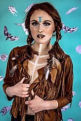 Ozdoby do vlasov - Gumička do vlasov s perím - hnedá - 10572619_
