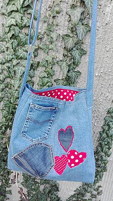 Kabelky - Crossbody kabelka z recyklovanej rifľoviny - 10571747_