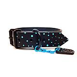 Pre zvieratká - Čierny obojok s tyrkysovými bodkami - 10574475_
