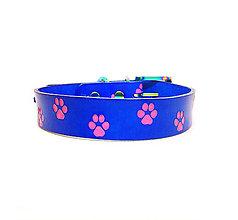Pre zvieratká - Modrý kožený obojok s ružovými labkami - 10574526_