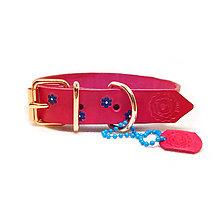 Pre zvieratká - Kvetinkový obojok z hovädzej hladenice v ružovej farbe - 10574535_