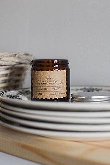 Svietidlá a sviečky - Sójová sviečka 130g v hnedom sklíčku (Nebuď čajová) - 10574650_