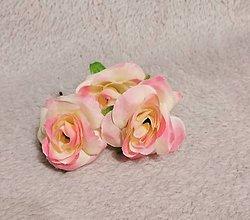 Ozdoby do vlasov - Set 3 bieloružovych ružičiek - 10573886_