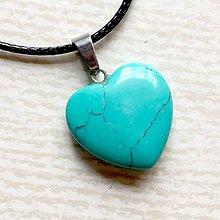 Náhrdelníky - Simple Gemstone Heart Necklace / Náhrdelník srdce s minerálom #2055 (Tyrkenit) - 10575545_