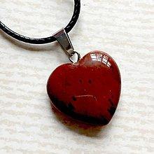 Náhrdelníky - Simple Gemstone Heart Necklace / Náhrdelník srdce s minerálom #2055 (Mahagónový obsidián) - 10575549_