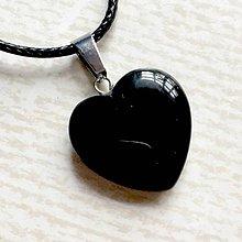 Náhrdelníky - Simple Gemstone Heart Necklace / Náhrdelník srdce s minerálom #2055 (Čierny achát) - 10575552_