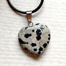 Náhrdelníky - Simple Gemstone Heart Necklace / Náhrdelník srdce s minerálom #2055 (Jaspis dalmatínsky) - 10575553_