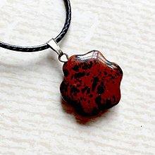 Náhrdelníky - Simple Gemstone Flower Necklace / Náhrdelník kvet s minerálom #2056 (Mahagónový obsidián) - 10575607_