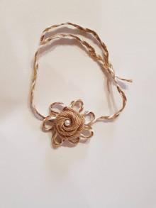 Pierka - vintage náramok z jutoviny s perličkou - 10575108_