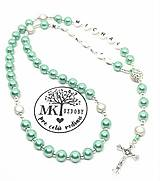 Náhrdelníky - Ruženec perličkový s textom (Zelený) - 10578590_