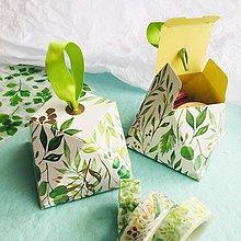 Darčeky pre svadobčanov - diamantová papierová škatuľka na darčeky Greenery - 10576564_