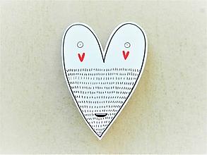 Odznaky/Brošne - srdco fúzaté - 10577246_