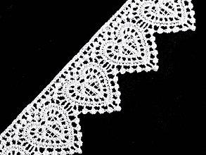 Galantéria - Vzdušná čipka srdiečka - biela - šírka 3,5 cm - 10576787_