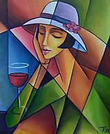Obrazy - U vína zamyslená , kubismus - 10578407_