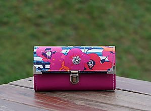 Peňaženky - Peněženka Vlčí mák, Růžová , 18 karet, 2 kapsy, na fotky - 10578008_