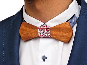 Doplnky - Svadobný drevený motýlik hranatý- čerešňa - 10576687_