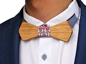 Doplnky - Svadobný drevený motýlik hranatý- dub - 10577001_