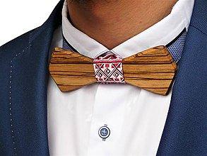 Doplnky - Svadobný drevený motýlik hranatý- zebrano - 10577104_