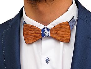 Doplnky - Svadobný drevený motýlik klasický-mahagón - 10577221_