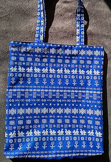 Nákupné tašky - Modrá nákupka s čičmanským vzorom - 10576721_