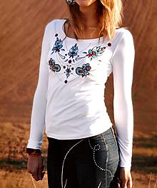 Tričká - Tričko Ornament s dlhým rukávom - XS skladom - 10575980_