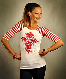 Tričká - Bieločervené pásikavé tričko - Red Folk - 10576012_