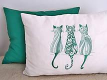 Úžitkový textil - vankúše set (vankúš vyšívaný -mačky) - 10577088_